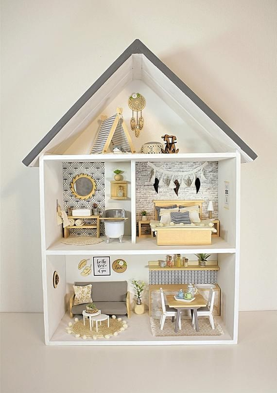 Dollhouse, wooden, handmade, modern, miniature 1:12 scale