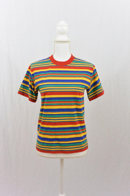 39954ae30d5 Vintage Rainbow Striped T Shirt