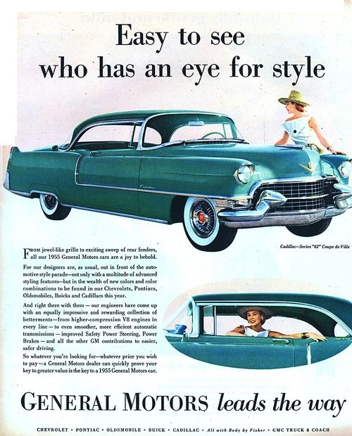 Green 1955 Cadillac Series 62 Coupe de Ville Auto Old Print