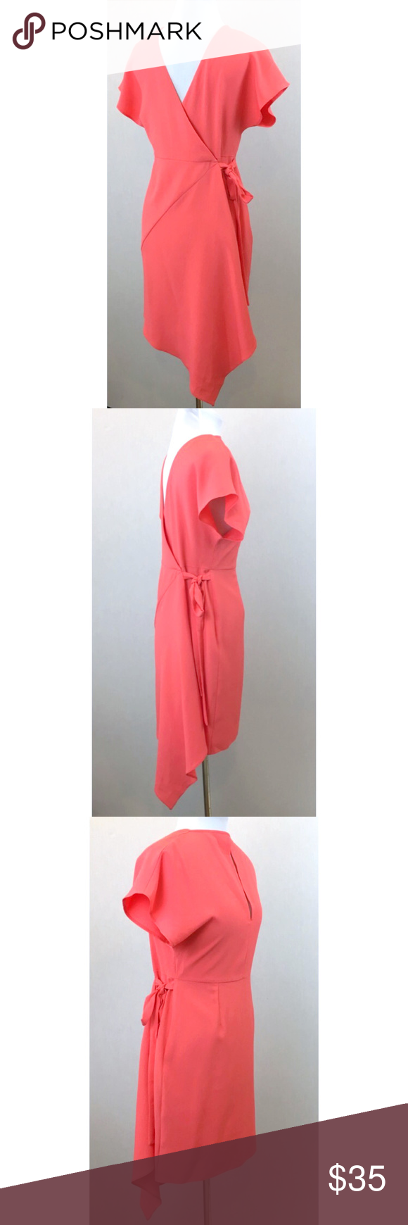 Topshop coral pink short sleeve wrap dress petite nwt my posh