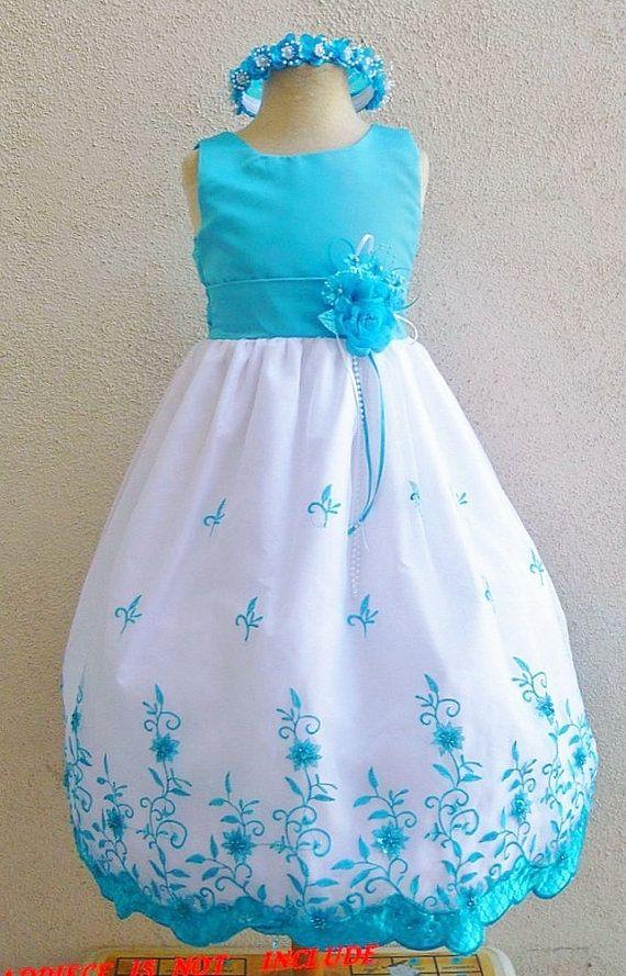 1a5de70473e0 Flower Girl Dress Turquoise 072 Wedding Children Easter Bridesmaid ...