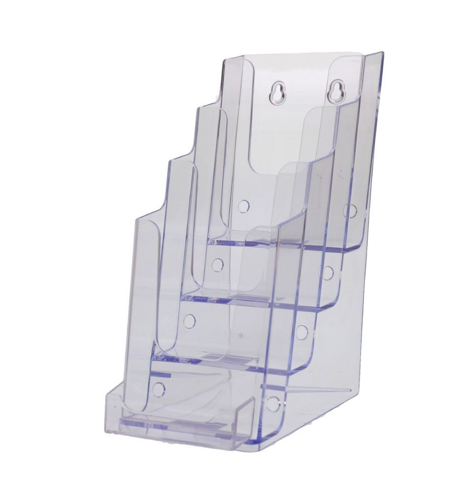 Lot of 12 four tier brochure holder w business card holder wall lot of 12 four tier brochure holder w business card holder wall mount 4 wide magicingreecefo Images