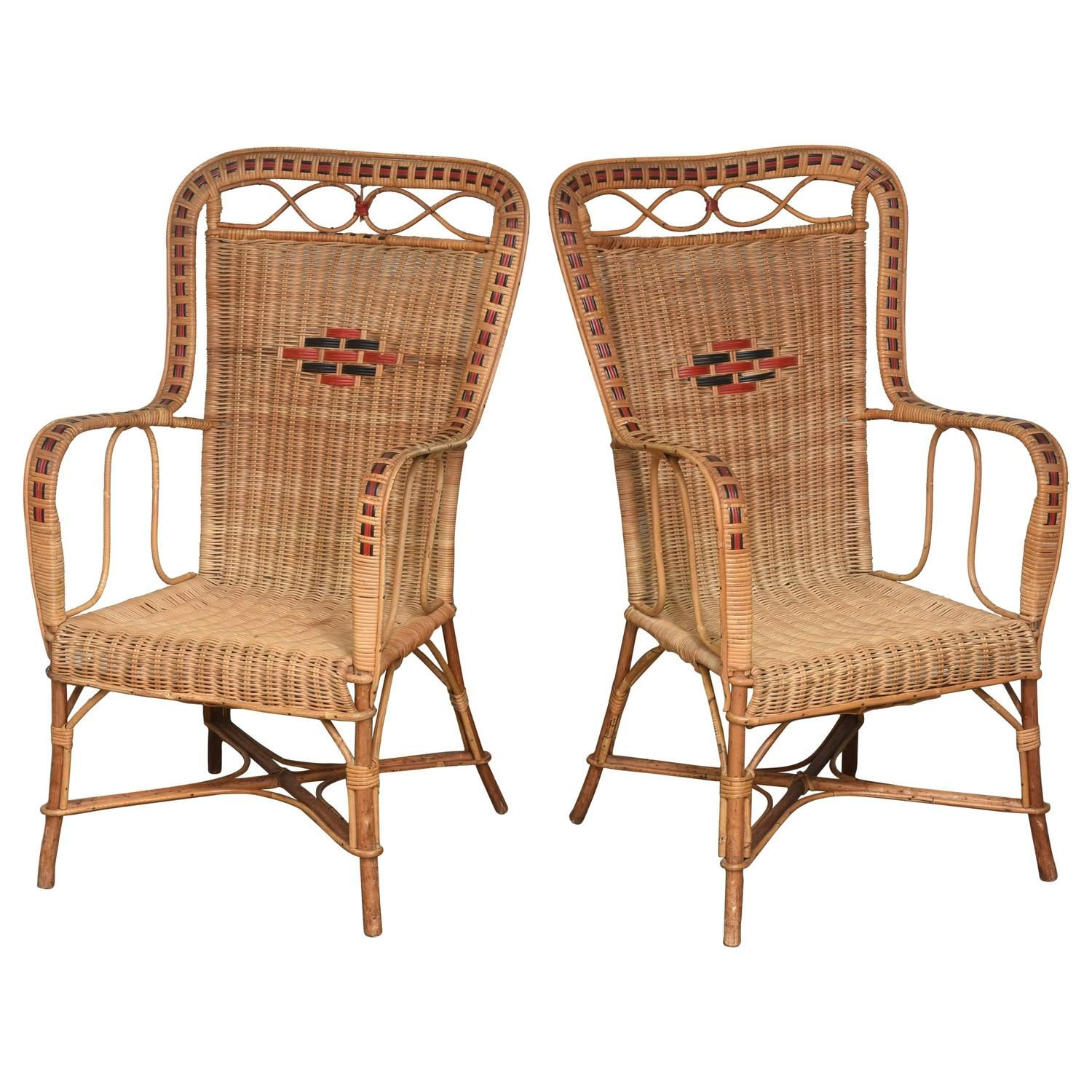 Pair of French Vintage Rattan Armchairs | From a unique ...