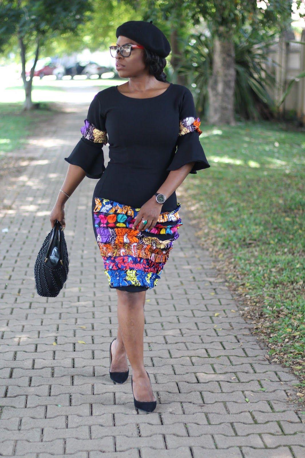 Little Black Dress Aka Lbd Garnished With Ankara Latest African Fashion Dresses African Print Fashion Dresses African Fashion Ankara [ 1600 x 1066 Pixel ]