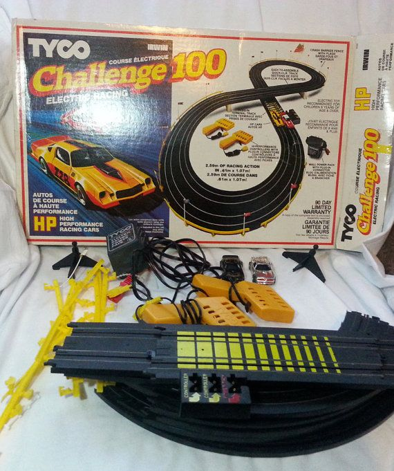 find this pin and more on tyco tyco 1982 vintage challenge 100 race track set rare electric car