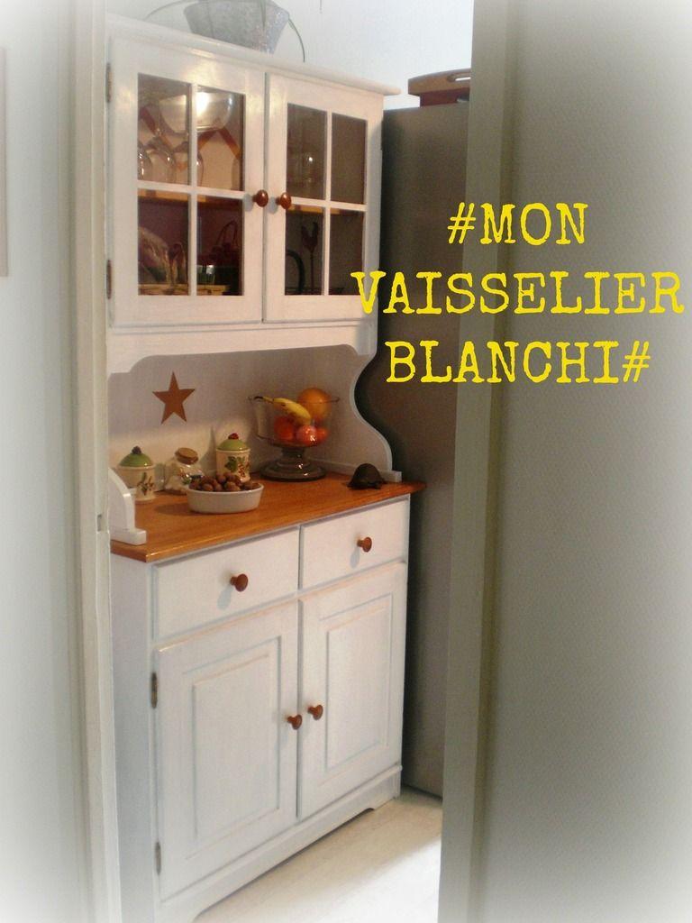 kitchen buffet - buffet-vaisselier de cuisine repeint en blanc et