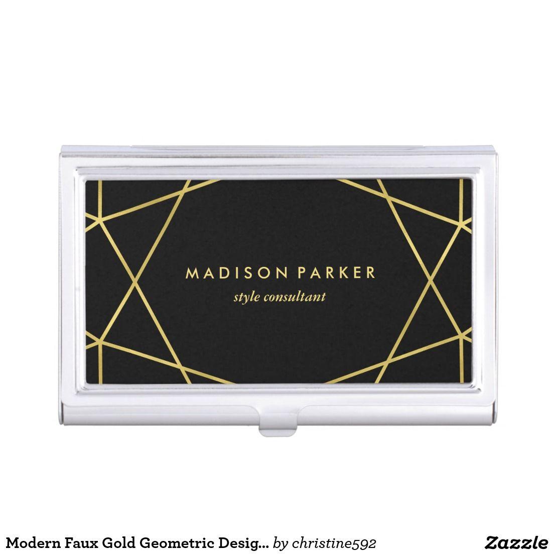 Modern faux gold geometric design on black business card case cool modern faux gold geometric design on black business card case colourmoves