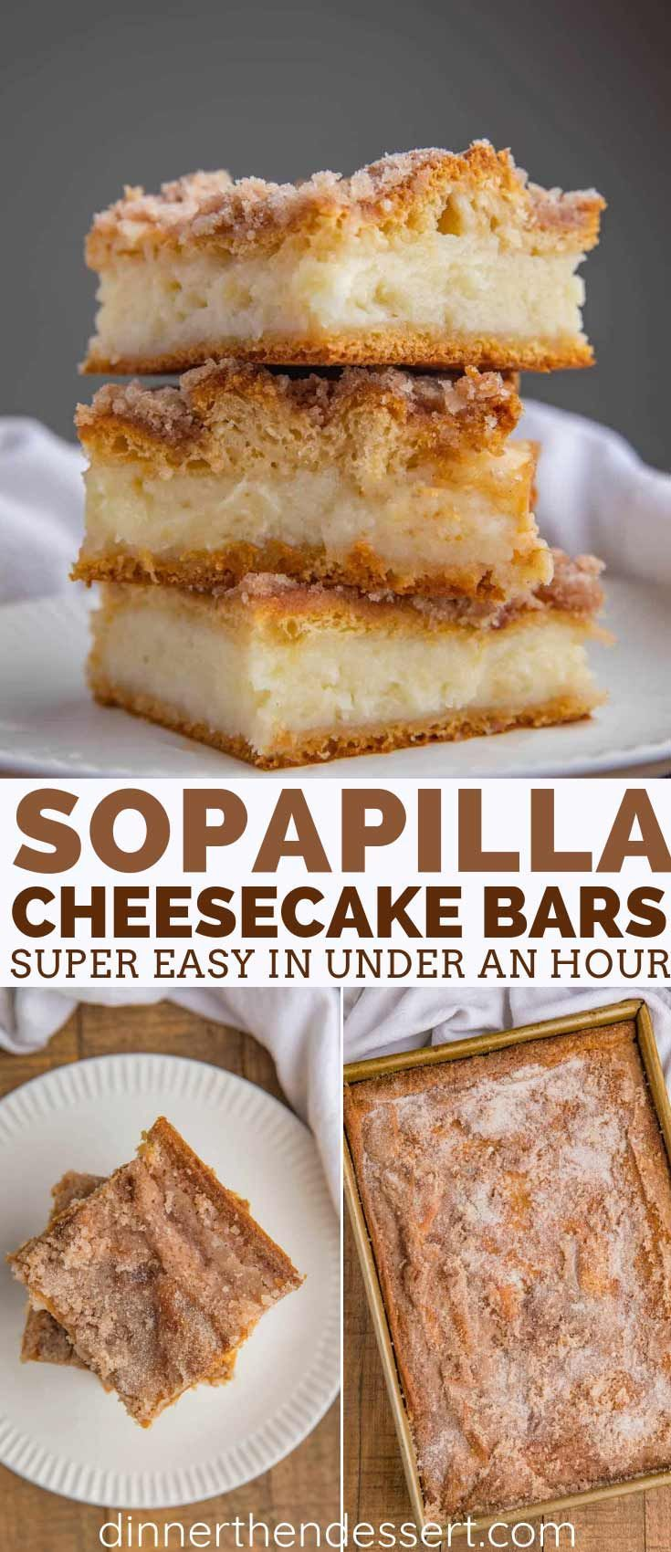 Sopapilla Cheesecake Bars are a quick and easy cheesecake dessert recipe with just six ingredients you can make in less than an hour that taste like a churro cheesecake! Cheesecake Bars are a quick and easy cheesecake dessert recipe with just six ingredients you can make in less than an hour that taste like a churro cheesecake!