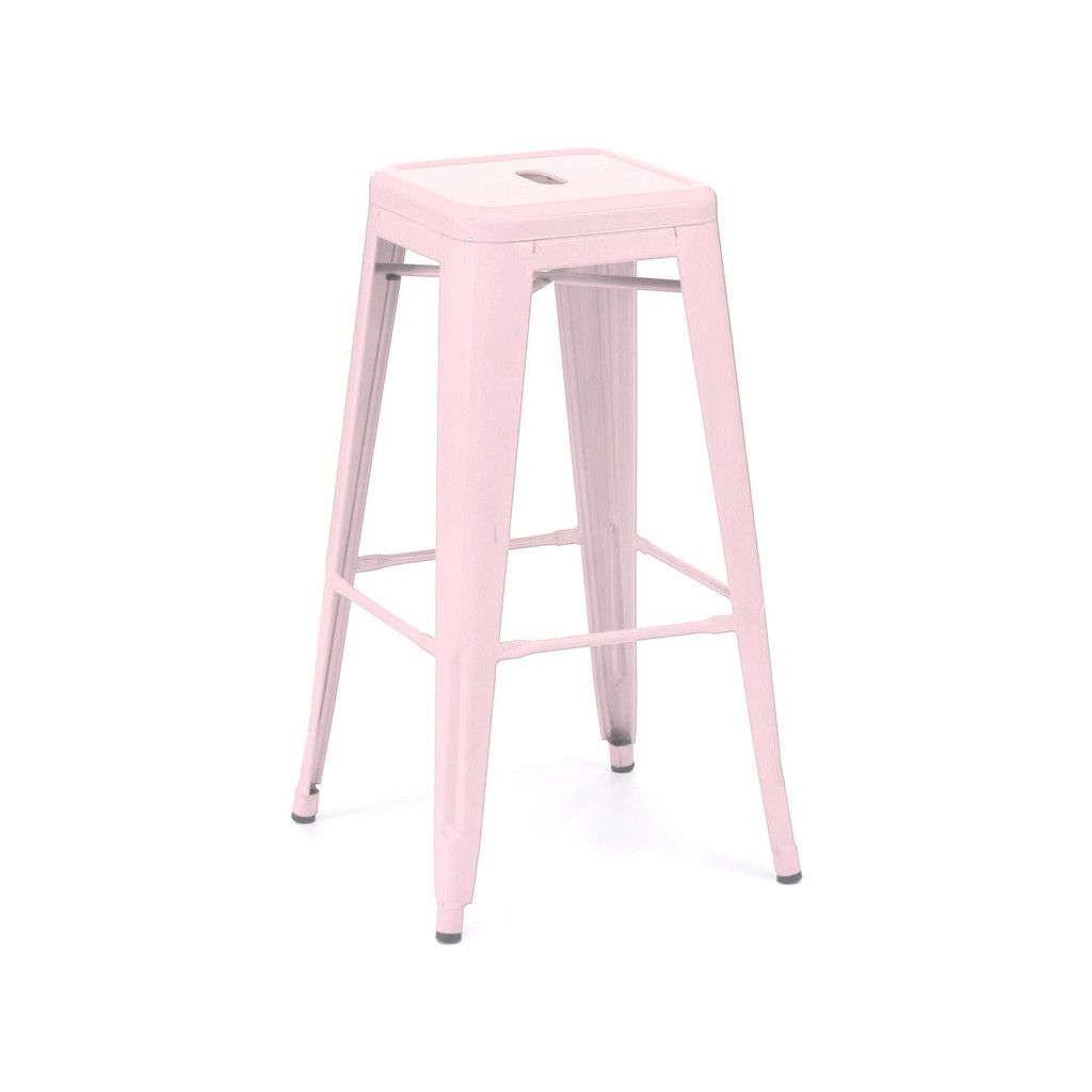 Sundsvall Stackable Glossy Pastel Pink Steel Barstool Set ...