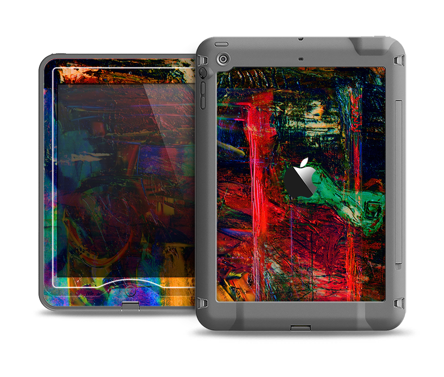 The Abstract Colorful Painted Surface Apple iPad Air LifeProof Nuud Case Skin Set
