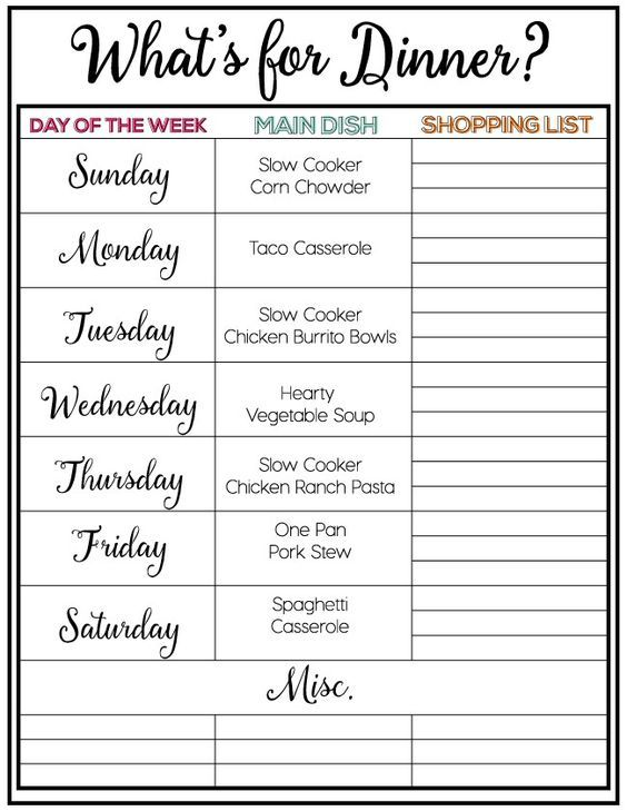 Printable Weekly Meal Plan Featured On IheartnaptimeCom  All