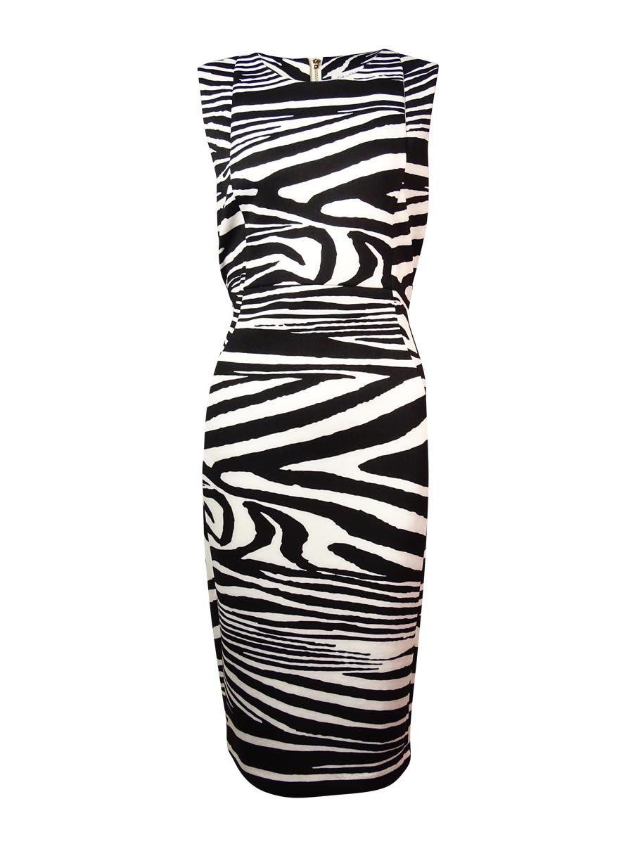 Calvin Klein Women's Zebra Scuba Sheath Dress