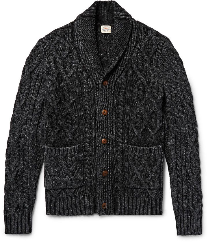 Faherty Shawl-Collar Indigo-Dyed Cable-Knit Cotton Cardigan | Mens ...