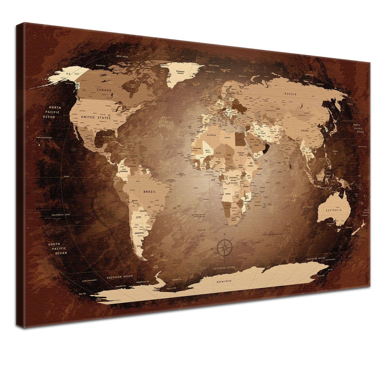 Lanakk world map antique with rear cork board allows drawing pin lanakk world map antique with rear cork board allows drawing pin board world map canvas picture gumiabroncs Gallery