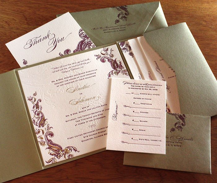Gold, burgundy and pink wedding invitation set with matching ...