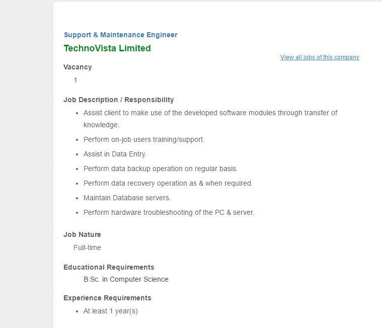 TechnoVista Limited - Post Support \ Maintenance Engineer - Jobs - maintenance job description