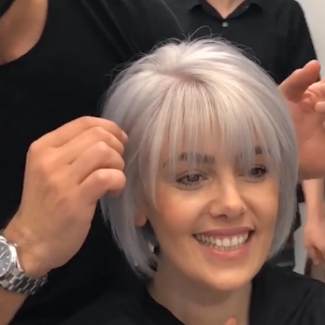 SHORT BOB HAIRSTYLE & SILVER HAIR COLOR TUTORIAL