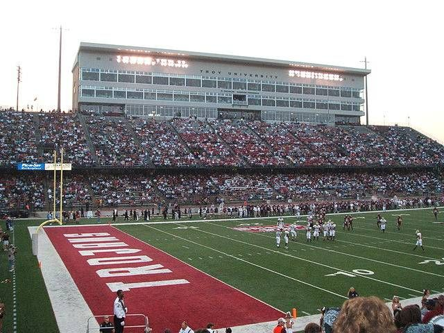 Troy University Trojans Football Field View Inside Of Movie Gallery Veterans Stadium Troy University Trojans Football Football Stadiums
