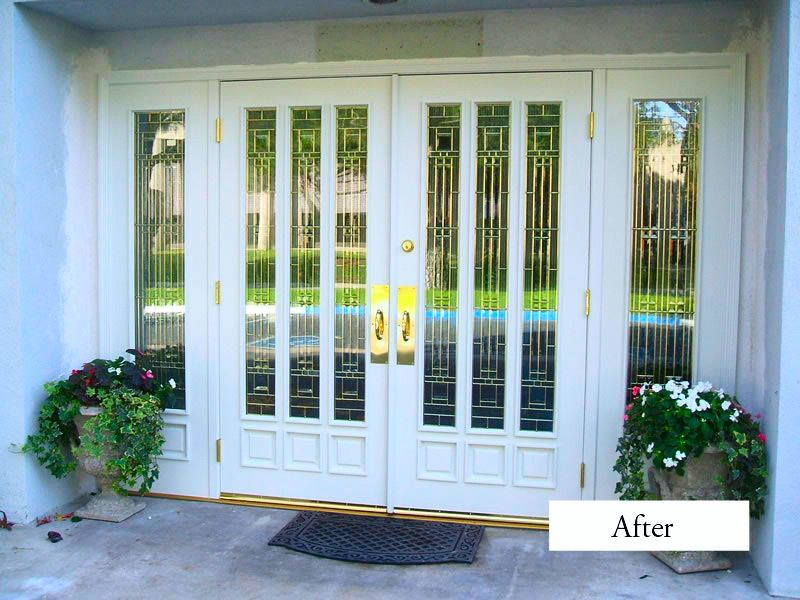 Entry Outswing French Doors No Grid With Lg Window On Either Side