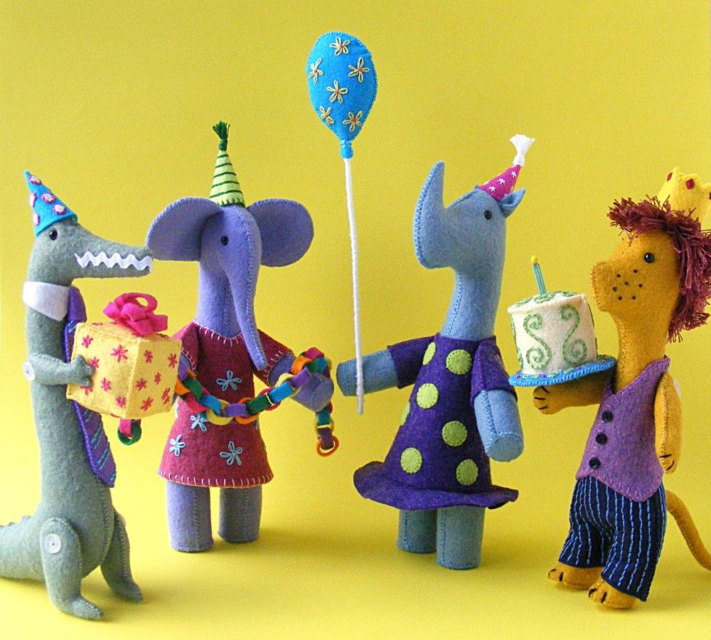 Four Party Animals - patterns and kits from Shiny Happy World
