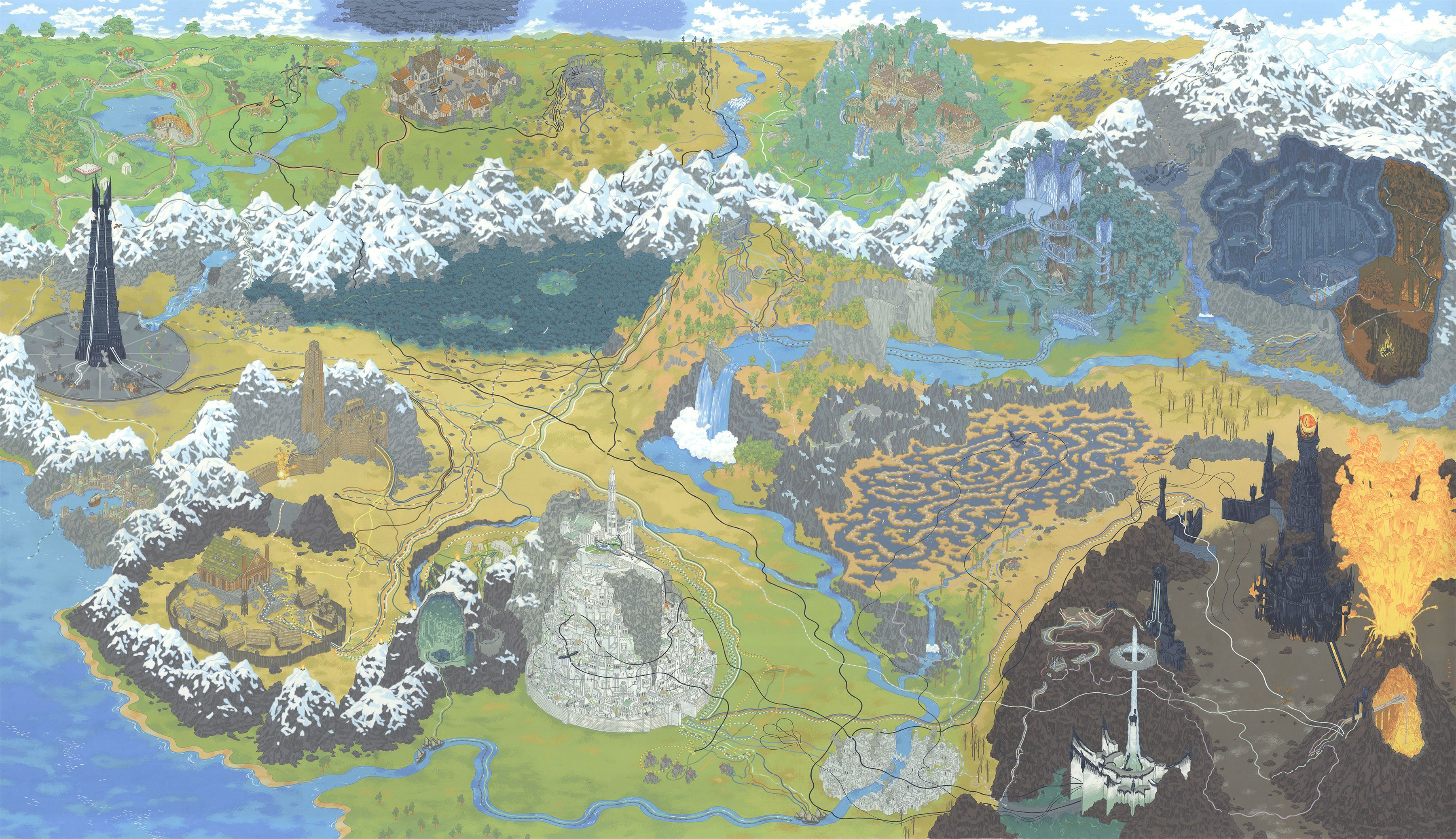 Andrew DeGraff Lord of the Rings Map – Lord of the Rings Detailed Map