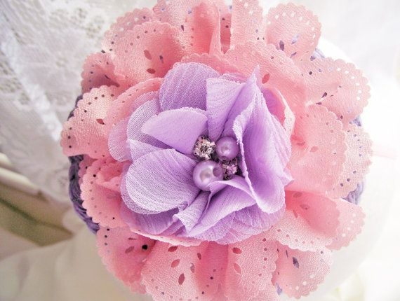 LAVENDER and Pink Baby HeadbandFlower GIrl by CedarCoveCreations
