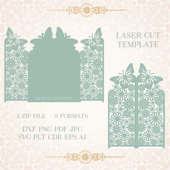 Laser cut envelope template for wedding invitation or greeting card laser cut envelope template for wedding invitation or greeting card printable papercut 9 vector formats plt dxf svg cdr m4hsunfo