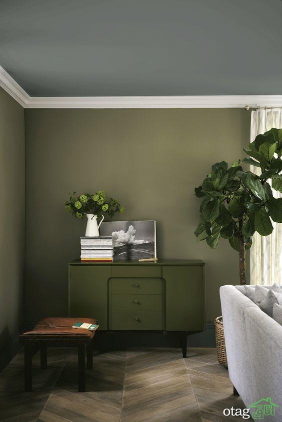 6 نکته کلیدی در رنگ امیزی سقف منزل Green Walls Living Room Living Room Green Olive Living Room