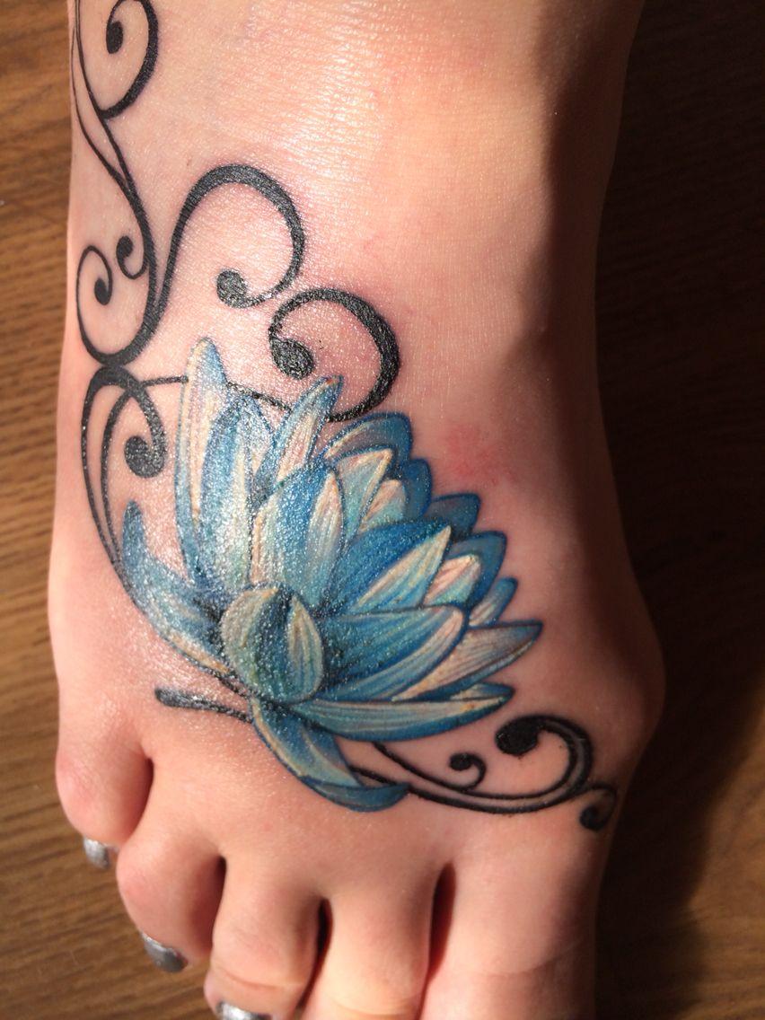 Blue Lotus Flower Foot Tattoo Tattoo Pinterest Flower Foot
