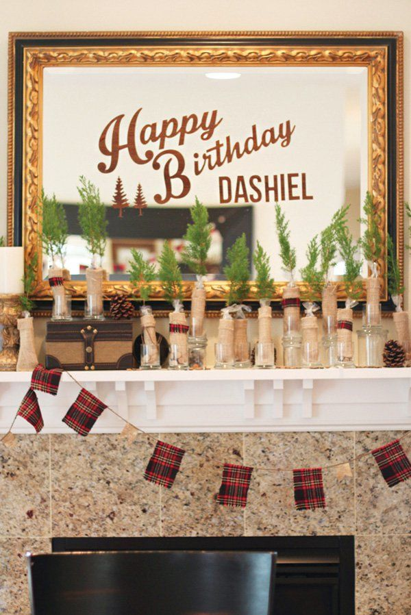 Creative & Woodsy decorations for a lumberjack birthday party!