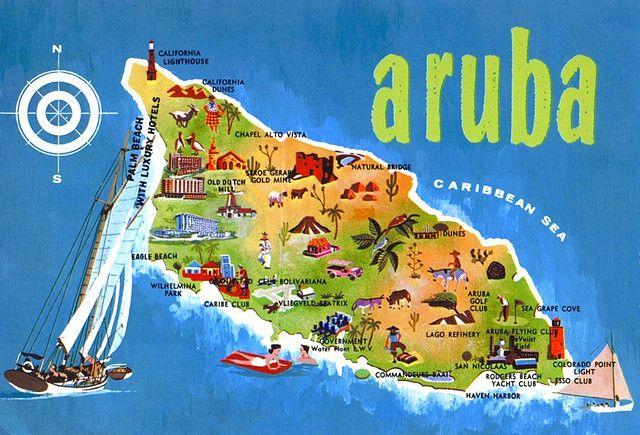 Aruba Map Card Vacation Honeymoon spots and Caribbean