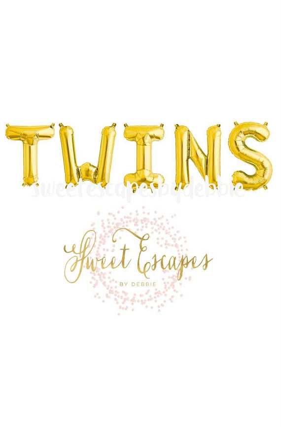 Twins Gold Letter Balloons Its Twins Balloon Prop Baby Shower