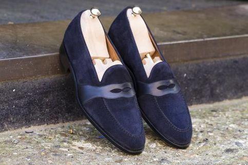 Navy Blue Suede Penny Loafer Moccasin