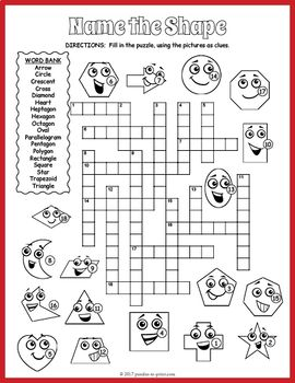 2D Shapes Crossword Puzzle | Puzzles for Kids on TpT ...