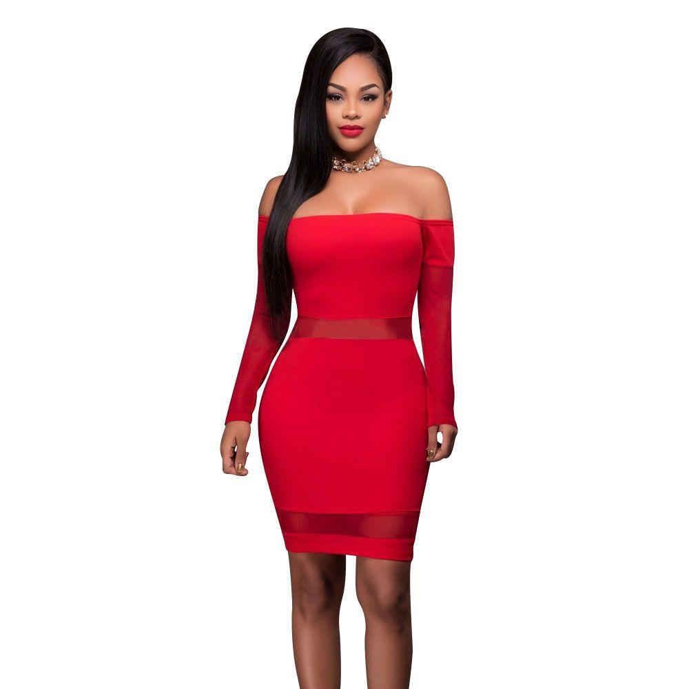 Red Sexy Slash Neck Cocktail Short Dress Off The Shoulder Long ...
