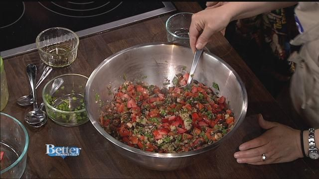 Heather Doughtry from The Sweet Beet in Granby is here to show us how to make a fiesta quinoa salad!  Click the link on the video for more information!