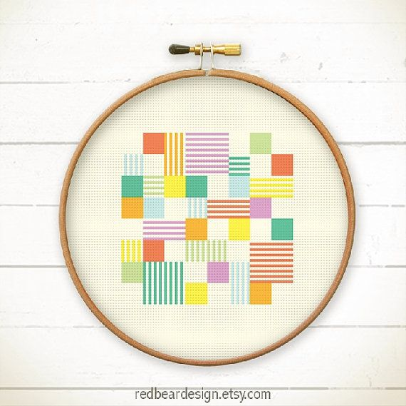 Abstract Cross Stitch Pattern Geometric Cross Stitch Modern Cross Stitch Modern Embroidery Pattern Counted Cross Stitch Easy Cross Stitch