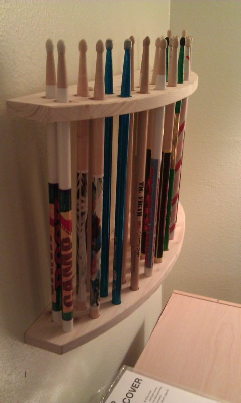 drum stick display drumstick holder hold 13 pair custom made new solid wood stojany. Black Bedroom Furniture Sets. Home Design Ideas