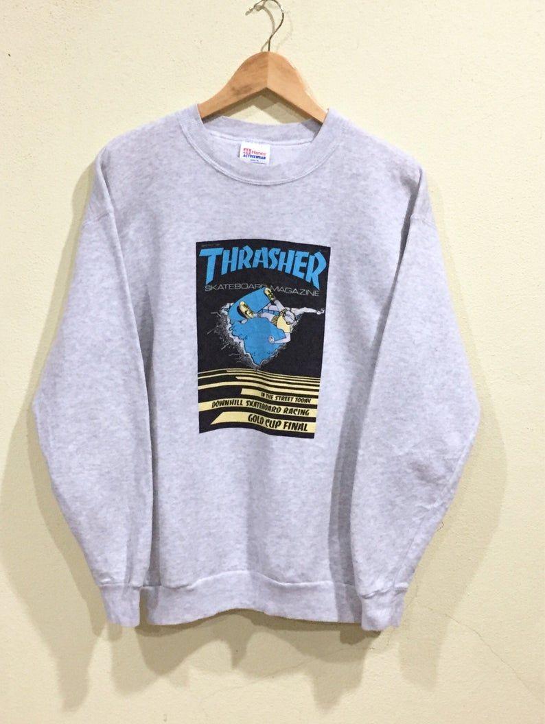 Rare Vintage Thrasher Sweatshirt Hanes Thrasher Skateboards Etsy Thrasher Sweatshirt Sweatshirts Hoodie Fashion [ 1056 x 794 Pixel ]