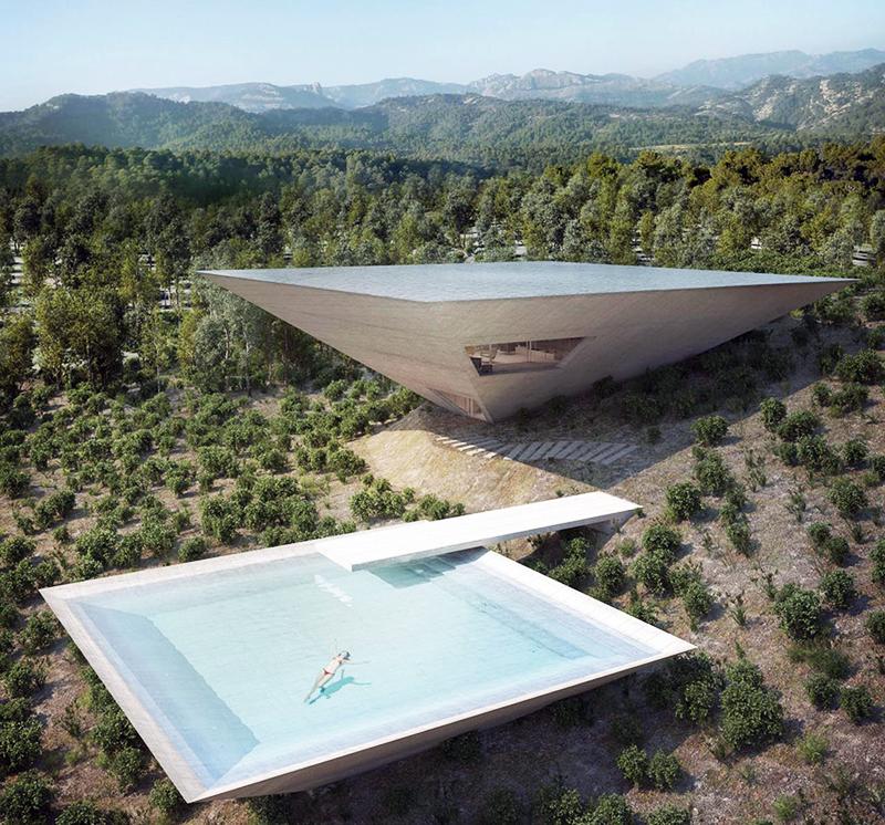 Solo houses la casa a piramide inversa restaurant for Software progettazione giardini 3d free