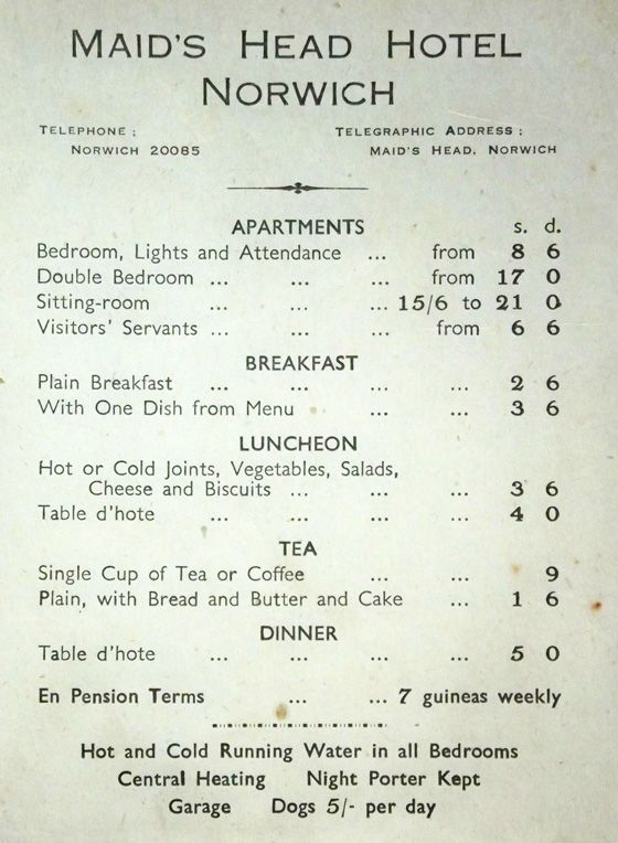 Maids Head Hotel Norwich – Gift of 1945 Hotel Bill | Food