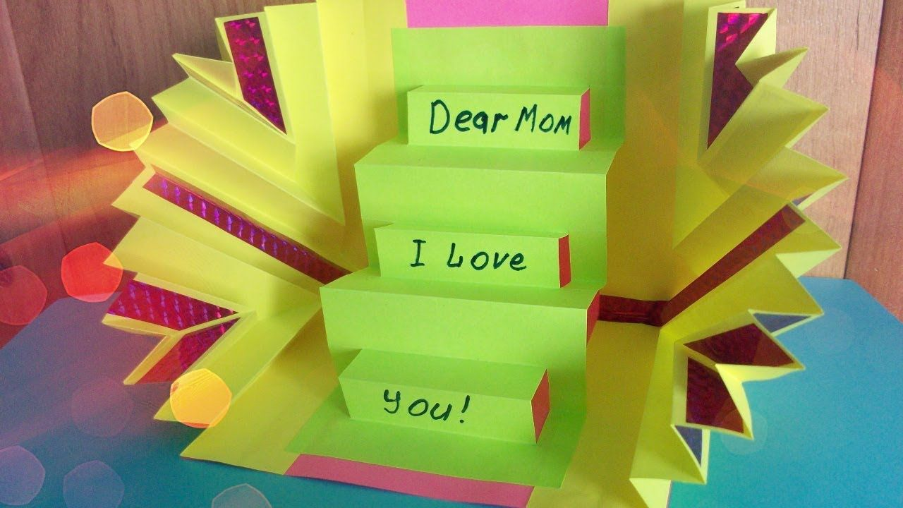 Diy handmade amazing greeting pop up card for mother