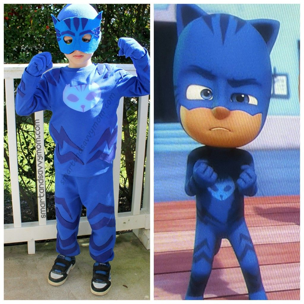 Side by side diy pj masks catboy costume with crafting for Diy halloween costumes for kid boy