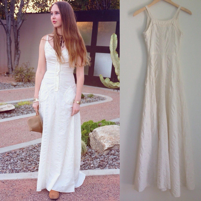 Vintage Maxi Dress with crochet trim, Boho Long Dress 70s Ivory Dress by ShopPrettyNVintage on Etsy https://www.etsy.com/listing/237569854/vintage-maxi-dress-with-crochet-trim