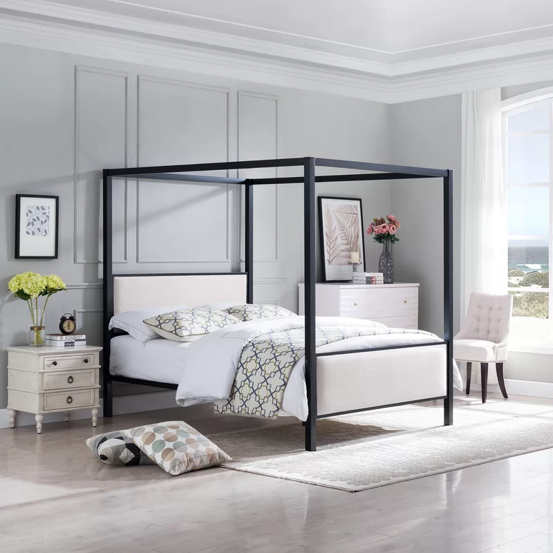 Semple Traditional Fabric Queen Upholstered Canopy Bed