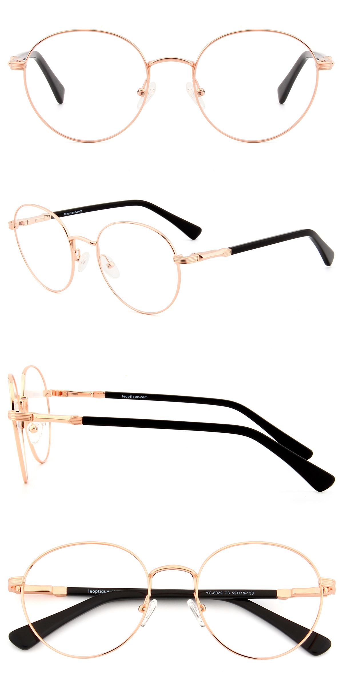 These rounded frames are made of durable metal. The embossed arms ...