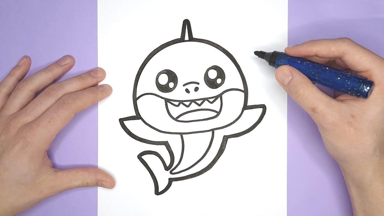 Pinkfong Drawing How To Draw A Cute Baby Shark Haai Tekenen Baby Haai Haai