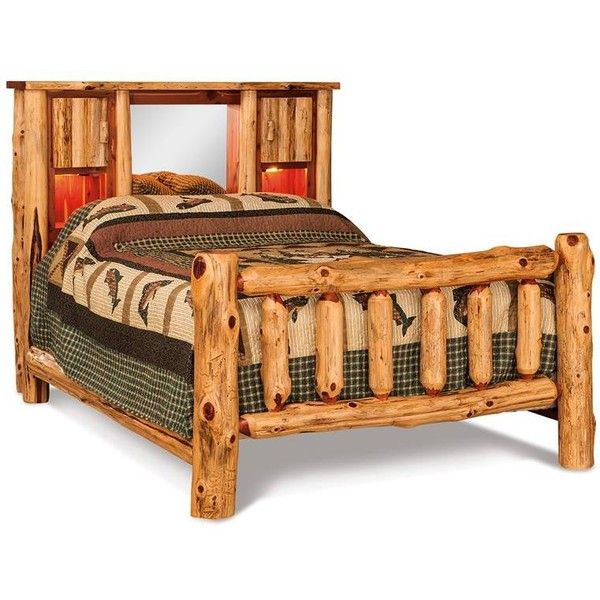 Storage Beds Amish Red Cedar Log Bed With Bookcase Headboard