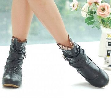 US Size 5-13 Slip On Round Toe Ankle Short Casual Boots For Women - US$34.99