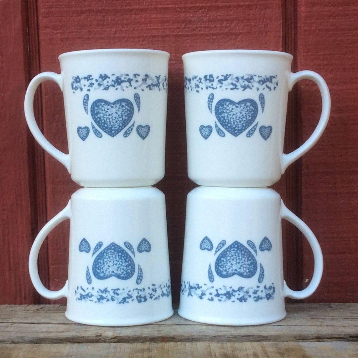 1980 S Vintage 10oz Corning Blue Hearts Mugs Corning Coffee Cups Blue Hearts Mug Corning Blue Heart Cup 10 Oz Teacup Teacups Mugs Blue Heart Corning